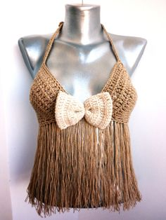 f7c8009dd4fff Items similar to Gift Retro TopHalter Fringes Ribbon Bra Top Crochet Sexy  Retro Women Top Nude Bandeau Crop Top Earthy Boho BacklessFestival Corset  on Etsy