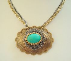 Brass and Turquoise Concho Buckle Necklace by joyceshafer on Etsy, $23.95