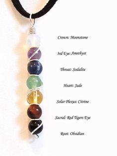 Chakra Balancing Healing Gemstone Necklace Yoga Jewelry Crystal Healing Wire Wrapped Pendant Amulet Talisman.