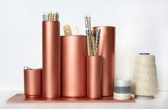 eep your desk organized and eye-catching with this Anthropologie-inspired glass and copper desktop organizer tutorial!