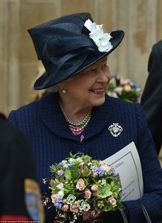 The Dean of Westminster said today we 'share the spirit of that day of rejoicing'. Pictured, the Queen leaves the service with a smile