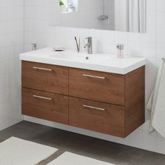 Alternative to double sink. GODMORGON / BRÅVIKEN Sink cabinet with 2 drawers - brown stained ash effect, Brogrund faucet - IKEA Steel Seal, Recycling Facility, Plastic Foil, Plastic Drawers, Drawer Fronts, Wood Drawers, Cleaning Wipes, Master Bathrooms, Bathroom Mirrors