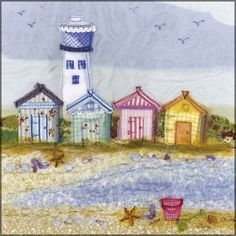 Lighthouse and Beach Huts Greeting Card Printed from an Embroidery