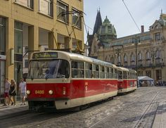 Old-fashioned tram in Prague is so nice