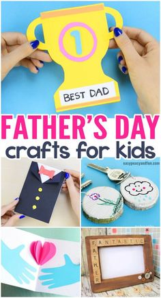 Fathers Day Crafts for Kids to Make - lots of wonderful art and craft ideas for kids to make for their dad. Easy DIY cards and lots of kid made father's day gifts. You will find ideas for toddlers, preschoolers, kindergarten as well as older kids.