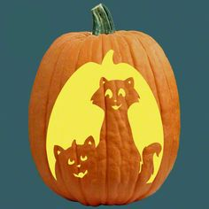 """One of 700+ FREE stencils for pumpkin carving and more! www.pumpkinlady.com """"Cat O' Lantern"""" #FreePumpkinCarvingPattern"""