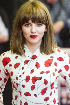 Ophelia Lovibond With A Blunt Fringe Hairstyle