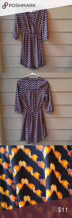 Multicolor Dress by Xhilaration Super cute! Bottom is lined. Looks cute with navy leggings! Xhilaration Dresses Midi