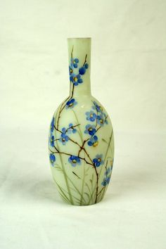 Hand Painted Bristol Glass Vase Antique English Satin Blue Flowers Bud Small