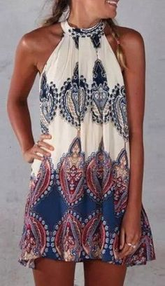 Boho Paisley Print Halter Shift Dress