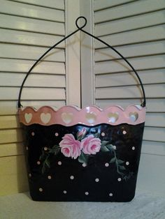 ON SALE!!!  $22.95....Hand Painted Polka Dot Wall Pocket with HP Pink Roses