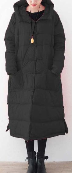 b09aa7764990 top quality black down coat oversized down overcoat New Chinese Button  coats hooded