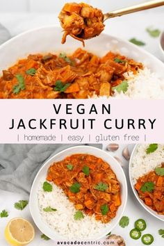 This vegan jackfruit curry is the best because it's healthy, plant based, and made with young canned jackfruit. In addition, it's so easy to make, gluten free, dairy free, perfect for meal prep, or weeknight dinners. You can also customize this recipe by adding more veggies. It's an easy way to incorporate more vegetables into your meals and leftovers taste even better. This vegan curry is great by itself or with a side of rice. #jackfruit #vegancurry #curry #jackfruitcurry #ve Jackfruit Curry, Gluten Free Recipes For Dinner, Delicious Vegan Recipes, Lunch Recipes, Tasty, Weeknight Dinners, Vegan Dinners, Vegetarian