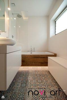 Apartament Sobieskiego - Myślenice - Realizacja 2014 - Mała łazienka w bloku, styl skandynawski - zdjęcie od Pracownia projektowa Novi art