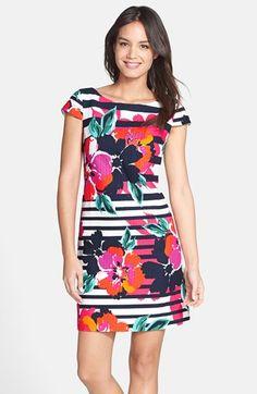 Eliza J Print Cotton Jacquard A-Line Dress available at #Nordstrom