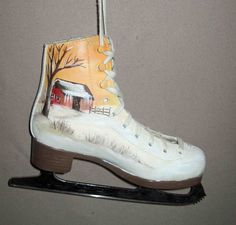 Ice Skate small hand painted by seller and signed winter scene with barn . Painted in earth tones, the ice skate, measures 8 1/2 wide x 7 1/4