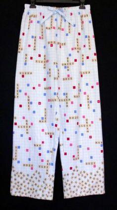Character® Cotton Flannel Blue Scrabble Print Lounge / Pajama / Sleepwear Pants Women's Size M NEW www.bevsthisnthatshop.com
