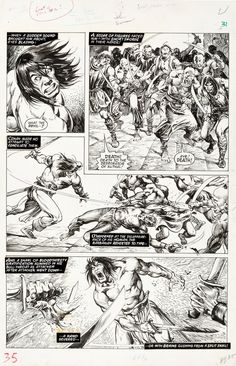 Savage Sword of Conan #20 page 31 by John Buscema and Alfredo Alcala Comic Art Comic Books Art, Comic Art, Douglas Smith, John Buscema, Sword Fight, Original Pokemon, Art Archive, Art Store, Art Auction