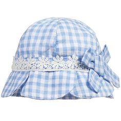 Mayoral Baby Girls Blue Gingham Cotton Sun Hat at Childrensalon.com