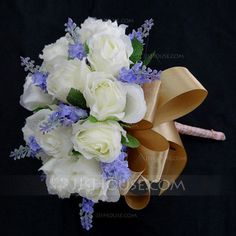 Special Hand-tied Satin Bridesmaid Bouquets (123031370) - JJsHouse