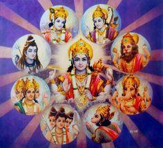 A Vishnu-centric view: the avatars Krishna, Rama, and Narasimha are joined by Shiva, Brahma c.1960 (via Columbia University)