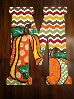 Custom Hand Painted Fall Chevron Door Hanger/Wall by DAMartndesign, $65.00