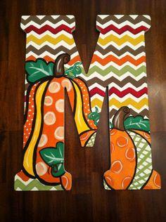 Custom Hand Painted Fall Chevron Door Hanger/Wall by DAMartndesign, $65.00