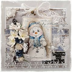Christmas card by LLC DT Member Becky Hetherington, using papers from Maja Design's Vintage Frost Basics collection and a Magnolia image. Fall Cards, Winter Cards, Xmas Cards, Pretty Cards, Cute Cards, Card Tags, I Card, Snowman Cards, Frosty The Snowmen