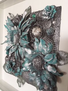 Mixed Media Art displayed in a glass front shadow box frame by Heather's Craft Studio on Etsy :-D