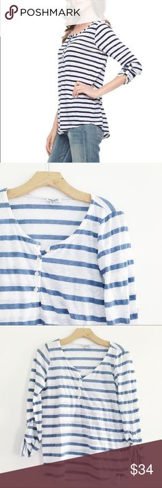 "Splendid Blue and White stripe top Button up Splendid blue and white strip top. 3/4 length sleeves. Buttons on the sleeves. Size medium.   Measurements:  ▫️Length:  23"" ▫️Width (at bust): 16"" ▫️Width (at waist): 16""   ✔️fast shipping  ✔️discounts on bundles Splendid Tops"