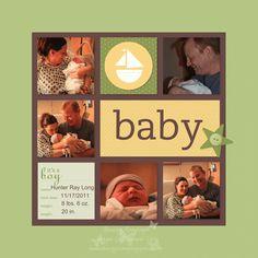 Stampin Up My Digital Studio digital baby boy scrapbook page