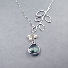 Glass Drop and  Branch Necklace - 'Florence Pale Green'  Freshwater Pearls and Sterling Silver Chain. $30.00, via Etsy... love