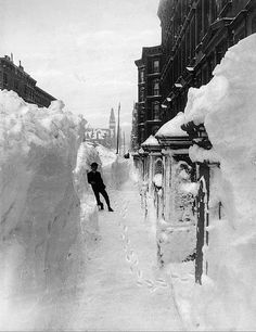 Snow shoveling: The Great Blizzard in  New York, 1888.
