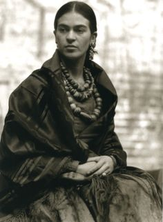 Frida Kahlo in Traditional Mexican Dress