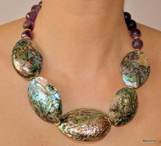 Necklace - abalone shell & amethyst - killer combo!