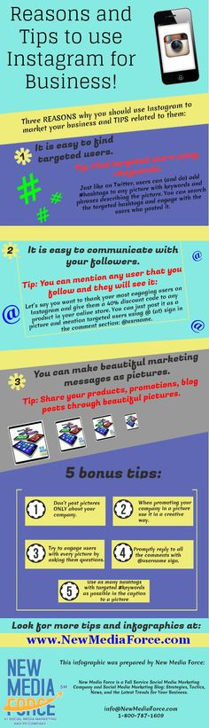 Reasons and tips to use Instagram for business #infografia #infographic #socialmedia