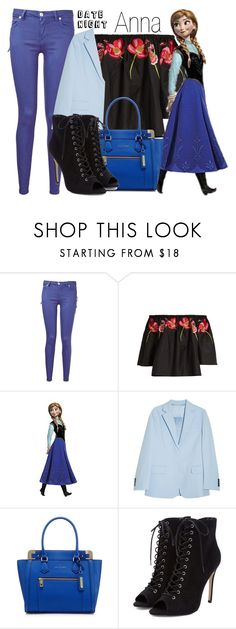 """""""Anna~ DisneyBound"""" by basic-disney ❤ liked on Polyvore featuring Versus, Temperley London, RoomMates Decor and Acne Studios"""
