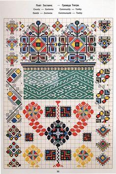 Ukrainian and Romanian embroidery of Bukovyna-Bucovina Polish Embroidery, Folk Embroidery, Cross Stitch Embroidery, Embroidery Patterns, Cross Stitch Charts, Cross Stitch Patterns, Cross Stitch Geometric, Folk Clothing, Creative Embroidery