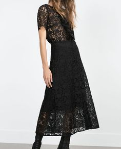 Image 4 of MIDI LENGTH LACE SKIRT from Zara
