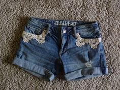 One of a Kind Denim and Lace Shorts. $35.00, via Etsy.
