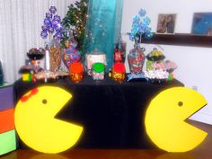 Handmade Pacman and Ms. Pacman for 80's party.