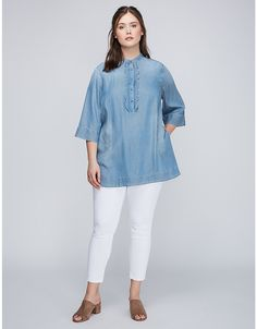 Scalloped Placket Shirt by Melissa McCarthy Seven7 | Lane Bryant