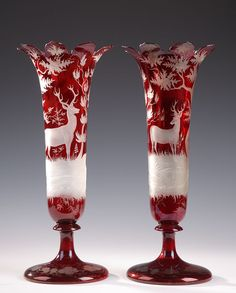 19th century pair of Bohemian red crystal vases with deer