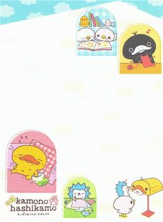 blue Duckling with friends mini Memo Pad by San-X 3