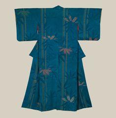A silk kimono featuring subtle bamboo patterns in urushi and rinzu techniques. Late Taisho to Early Showa era (1920-1940), Japan. The Kimo...