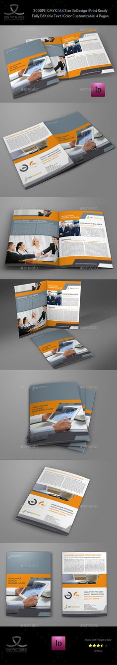 Company Brochure BiFold Template Vol.34 — InDesign INDD #creative brochure #bifold brochure • Available here → https://graphicriver.net/item/company-brochure-bifold-template-vol34/9120536?ref=pxcr