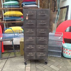 A very nice new 'vintage style' industrial metal drawer unit on castors. From The Consortium, Romsey & Winchester, Hampshire specialists in Vintage Furniture and stockists of the brilliant Chalk paint Decorative Paint by Annie Sloan.