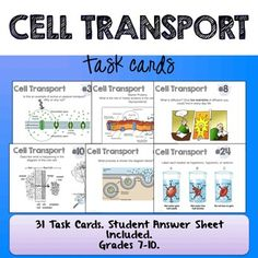 "The ""Cell Transport Task Cards"" set are styled as traditional task cards (not the ""exhibition lab"" style that I offer for some topics). Students travel from station to station analyzing the cards and writing answers on the sheet provided (see preview). 31 stations are included."