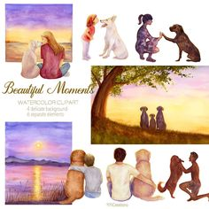 Best Friends Clipart: I Love My Dog, Watercolor People with Dog, Loyal Beloved, Digital Sunset Landscape, Pet Lovers, Girl with Dog, Puppy Underwater Creatures, Ocean Creatures, Friends Clipart, Kitten Images, Cat Clipart, Watercolor Sunflower, Sunset Landscape, Pet Lovers, Beautiful Moments