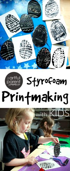art for kids Styrofoam printmaking is a remarkably easy and rewarding printing technique to do with kids for everyday art or for holiday cards. This step-by-step tutorial shows how. Kindergarten Art, Preschool Art, Spring Art, Summer Art, Easter Art, Easter Crafts, Kids Crafts, Creative Activities, Art Activities